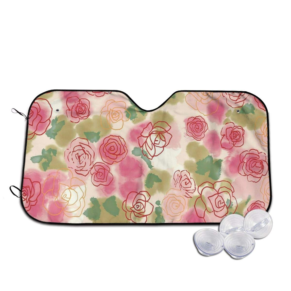 Flower Rose Ink Painting Windshields Sun Shade 3D Printed Long Lasting