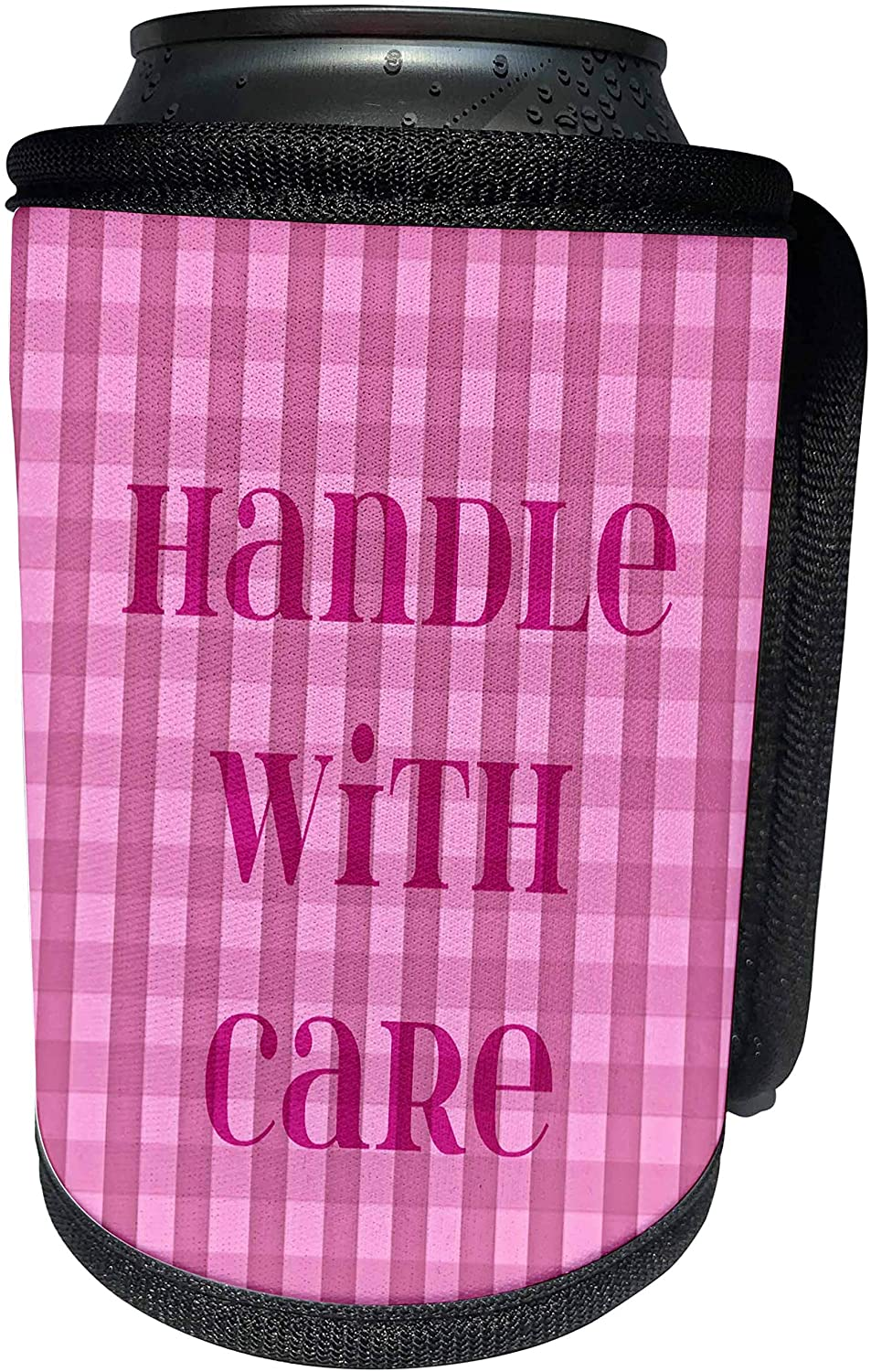 3dRose PS Creations - Handle With Care - Pink Gingham - Sayings - Art - Can Cooler Bottle Wrap (cc_53555_1)