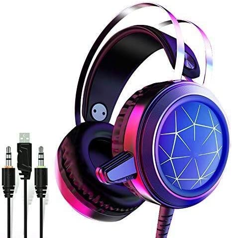 Headphones for Computers Stereo Gaming Headset, Wired LED Earphones with Noise Cancelling Mic Soft Earmuffs for Desktop PC Game Music Earbuds (Color : B)