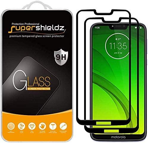 (2 Pack) Supershieldz for Motorola (Moto G7 Supra) Tempered Glass Screen Protector, (Full Screen Coverage) Anti Scratch, Bubble Free (Black)