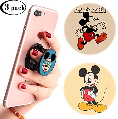 3 Pack/Multifunction Disney Cell Phone Stand Holder and Grip Mickey Mouse Tropical Foldable Phone Kickstand Mount Compatible for Smartphones