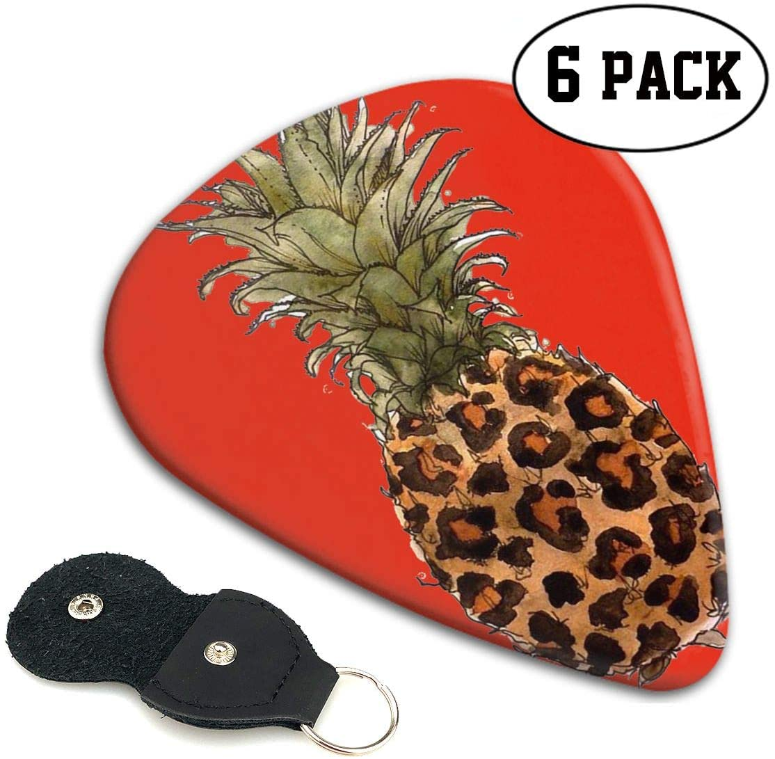 Xzyauza Leopard Pineapple Celluloid Guitar Picks Premium Picks 6 Pack for Guitar,Mandolin,and Bass 0.46mm, 0.71mm, 0.96mm Optional with PU Leather Pick Holder