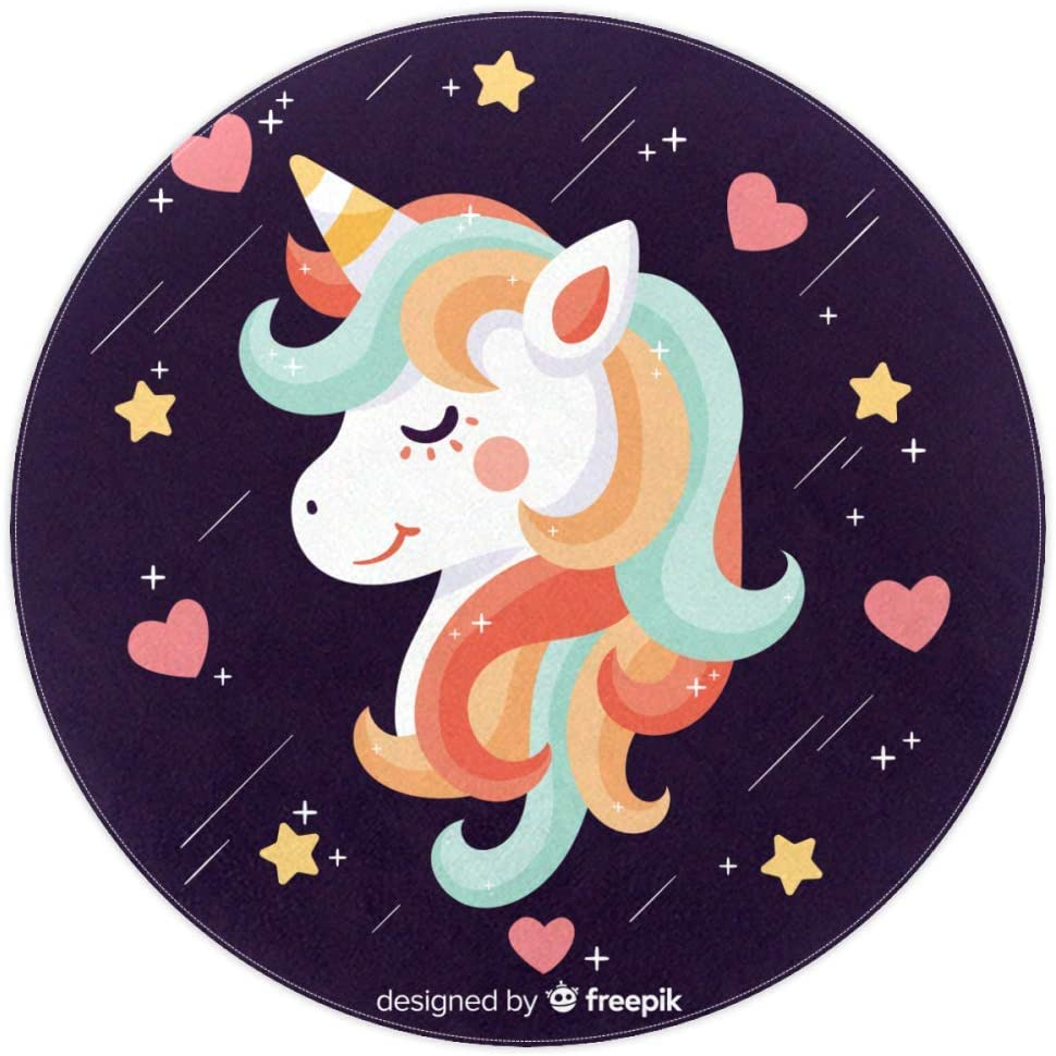 Unicorn Heart Cartoon Baby Crawling mat Round Area Rug Home Decorative Carpet Soft and Washable Pad Non-Slip for Kid's Toddler Infants Room 4feet