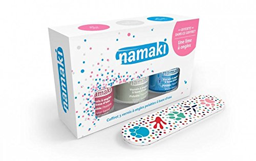 NAMAKI - Box with 3 water-based nail polishes - Pink, White, Blue - With a nice nail file - Easy to apply - Quick drying - No harmful chemical additives - 22.5 ml