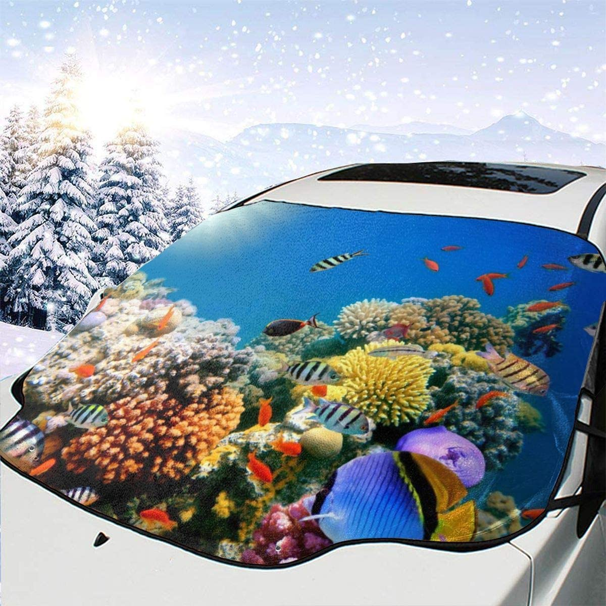 THONFIRE Car Front Window Windshields Snow Sunshade Underwater Fishes Cover Snow Proof Blocks UV Rays Damage Free Visor Protector Minivan Summer Heat Insulation