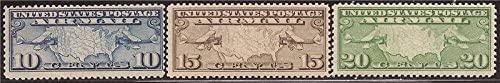US Stamp - 1926-7 Mailplanes & US Map - Three Stamp Set MNH #C7-9