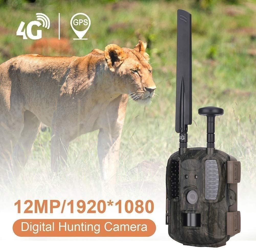 HJWL Wildlife Trail Camera 4G GPS, Hunting Camera 16MP 1080P, IP66 Waterproof, Infrared Night Vision Up to 65ft/20m, 0.3S Trigger Time and 54 Pcs 940nm Game Camera