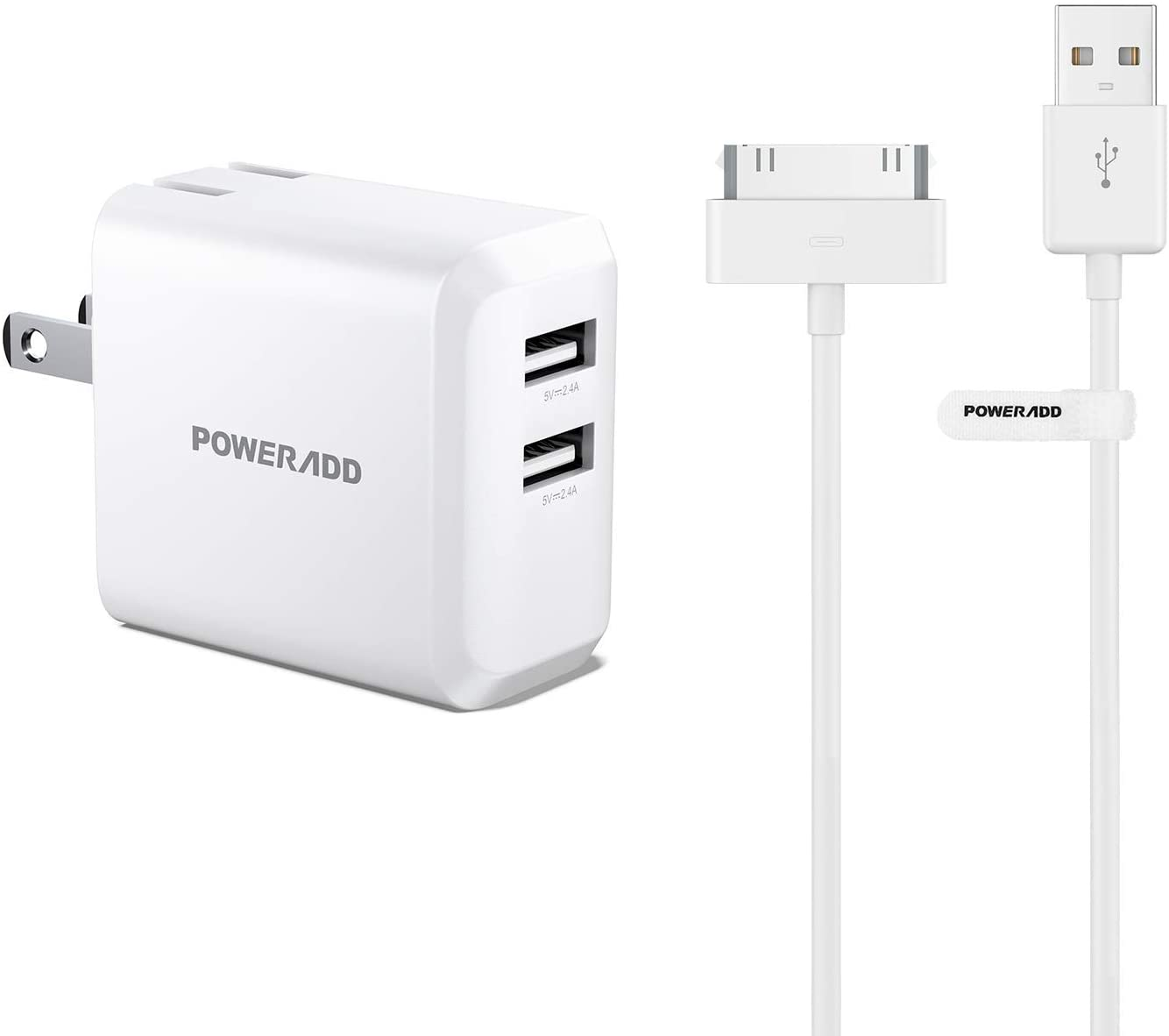 USB Phone Charger, POWERADD 24W Dual Port Wall Charger with Foldable Plug Apple Certified iPhone 4 4s 3G 3GS iPad 1 2 3 iPod Touch Nano 30 Pin Charger USB Sync Cable Charging Cord Dock Adapter Data 4