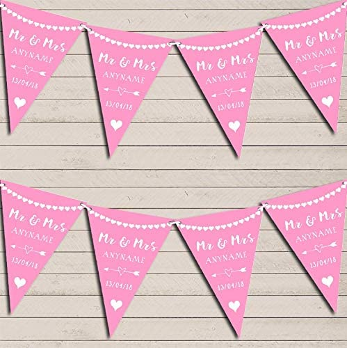 Heart Mr & Mrs Carnation Pink Wedding Day Married Bunting Party Venue Decoration Party Flag Banner Garland
