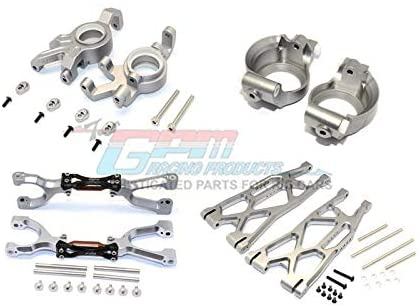 G.P.M. Traxxas X-Maxx 4X4 Aluminum Front Upper + Lower Arms + C Hubs + Knuckle Arms Set (for X-Maxx 6S / 8S) - 52Pc Set Gray Silver