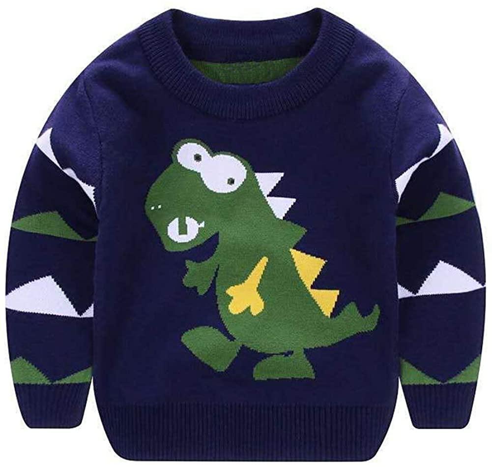 AIWUHE Toddler Baby Boys Sweater Cartoon Dinosaur Pullover Kids Knited Crewneck Sweatshirt 2-8Y