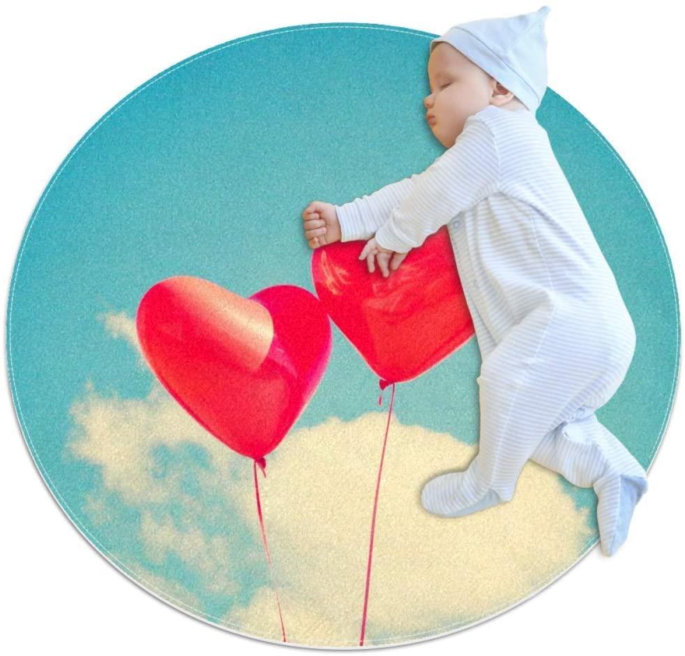 Heart Balloon Red Baby Crawling mat Home Decorative Carpet Soft and Washable Pad Non-Slip for Kids Toddler Infants Room 2feet 3.5inch