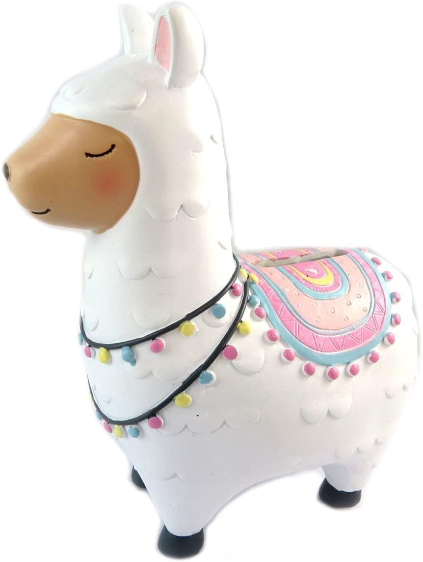 Les Tresors De Lily [Q0834] - Piggy Bank Ceramic 'Lama Mania' White Pink - 15.5x13x6 cm (6.10''x5.12''x2.36'').