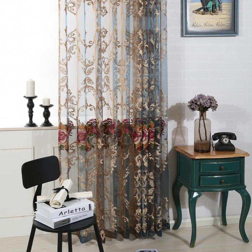 pureaqu Luxury Elegant Rod Pocket Process Sheer Curtains W39xH63 Embroidery Flower Tulle/Voile Drapes for Living Room Curtain Panel Window Home Decor 1 Panel