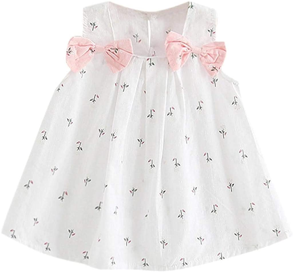 terbklf Toddler Kid Baby Girls Summer Floral Printed Princess Party Performance Formal Tutu Dress Mini Dress