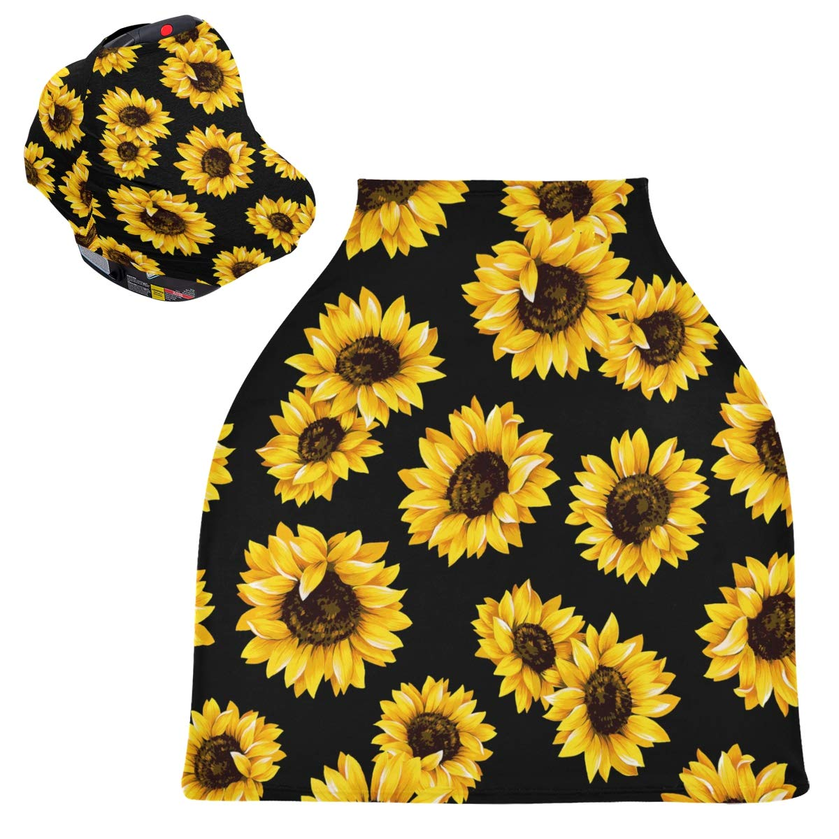 Stretchy Baby Car Seat Canopy - Beautiful Sunflowers in Black Background Infant Stroller Cover Multi Use Baby Carseat Cover Nursing Cover for Girl