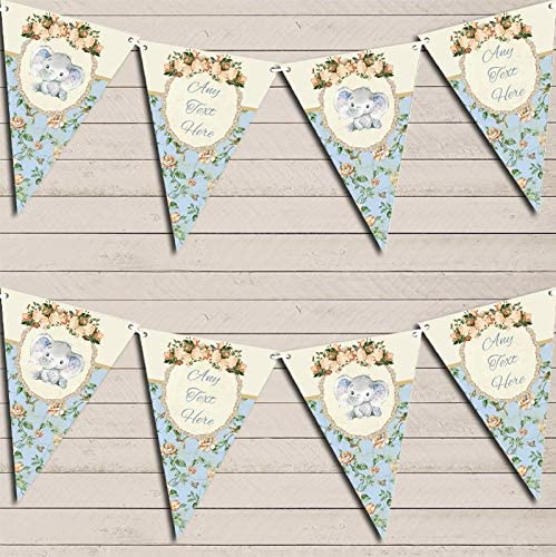 Baby Elephant Shabby Chic Floral Blue Boys Personalized Christening Bunting Garland Banner Decoration
