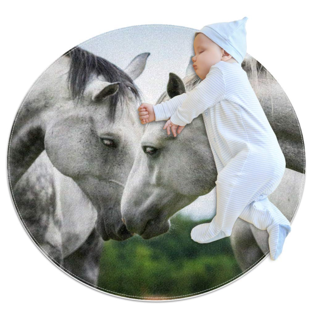 Baby Rug Animal White Horse Kids Round Play Mat Infant Crawling Mat Floor Playmats Washable Game Blanket Tummy Time Baby Play Mat 27.6x27.6 inches
