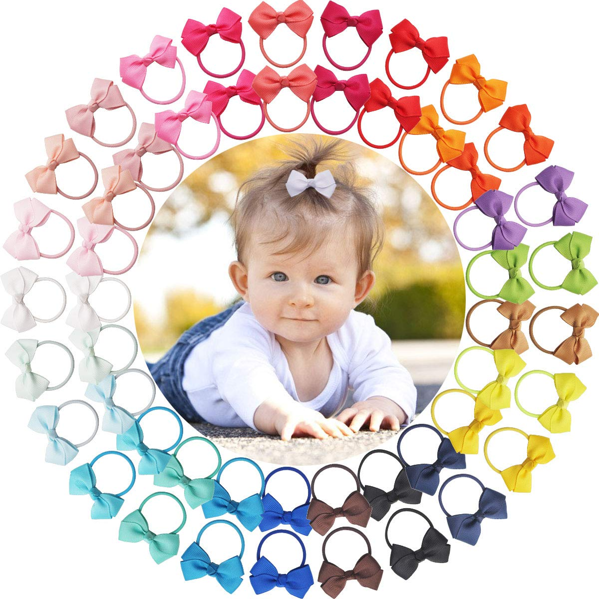 Qearl 50 Pcs 2 Inch Tiny Hair Bows Elastic Ties Grosgrain Ribbon Bows Ponytail Holder Hair Accessories for Infants Toddlers Kids In Pairs