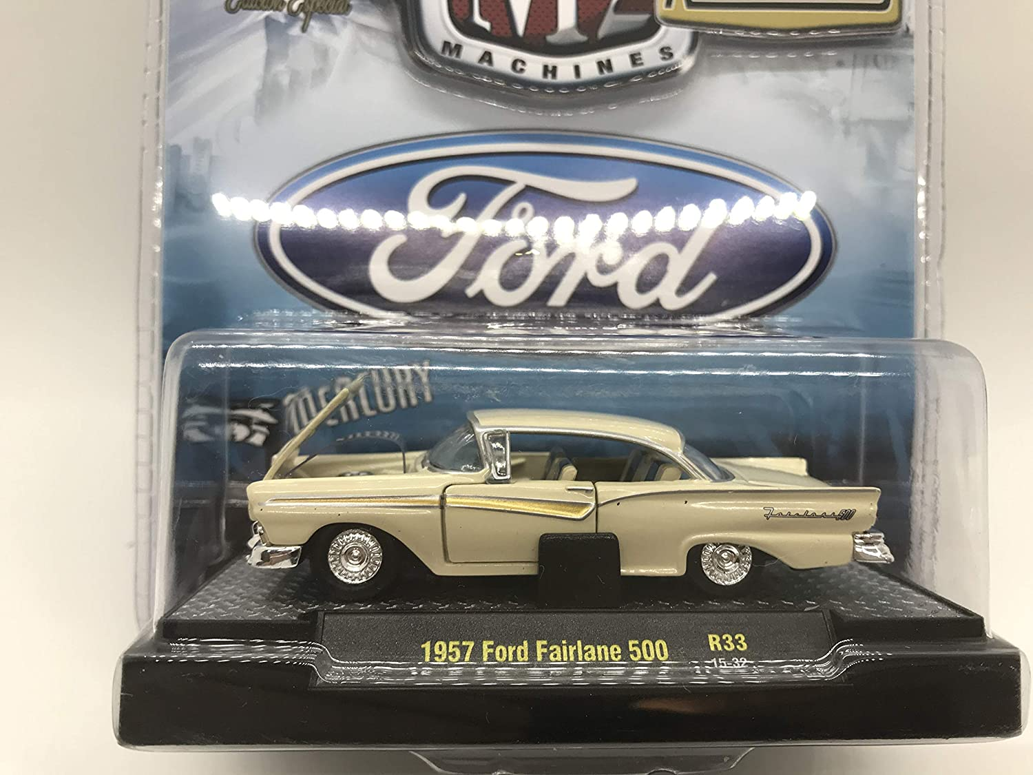 M2 Machines by M2 Collectible Auto-Thentics 1957 Ford Fairlane 500 R33 15-32 Light Yellow Details Like NO Other!