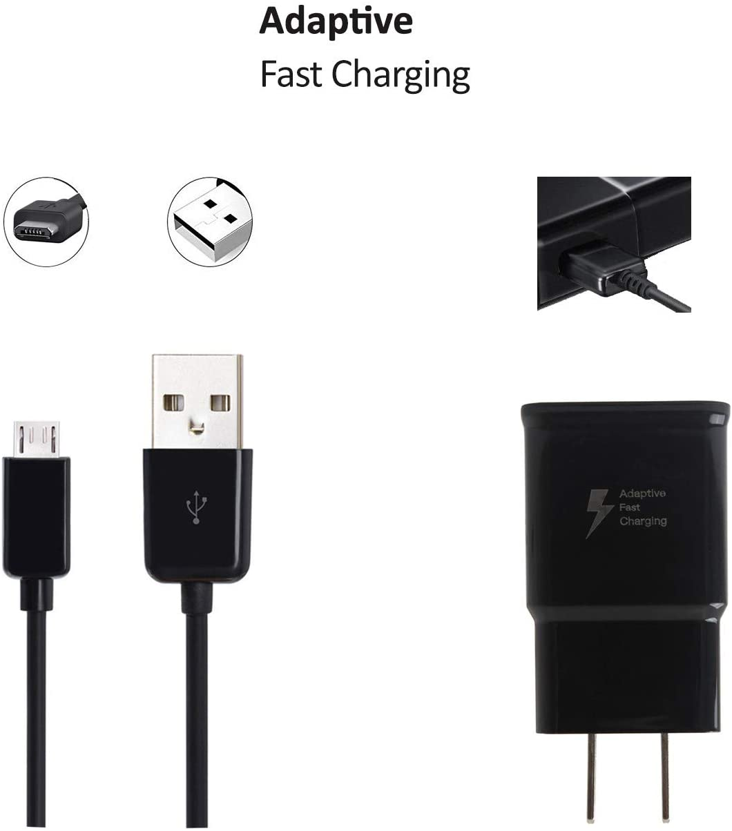 OEM Adaptive Fast Charger Compatible with Samsung Galaxy Express 3 Cell Phones [Wall Charger + 5 FT Micro USB Cable] - True Digital Adaptive Fast Charging - Black