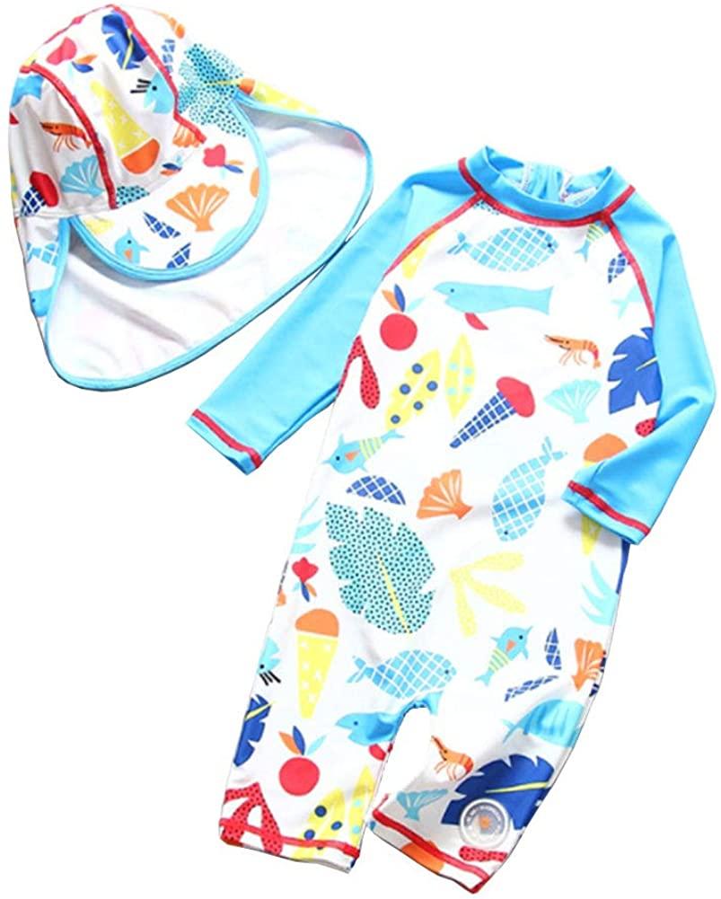 LIBOLI Baby Boys Girls One-Piece Swimwear with Hat Rash Guard Sunsuit Swimsuit