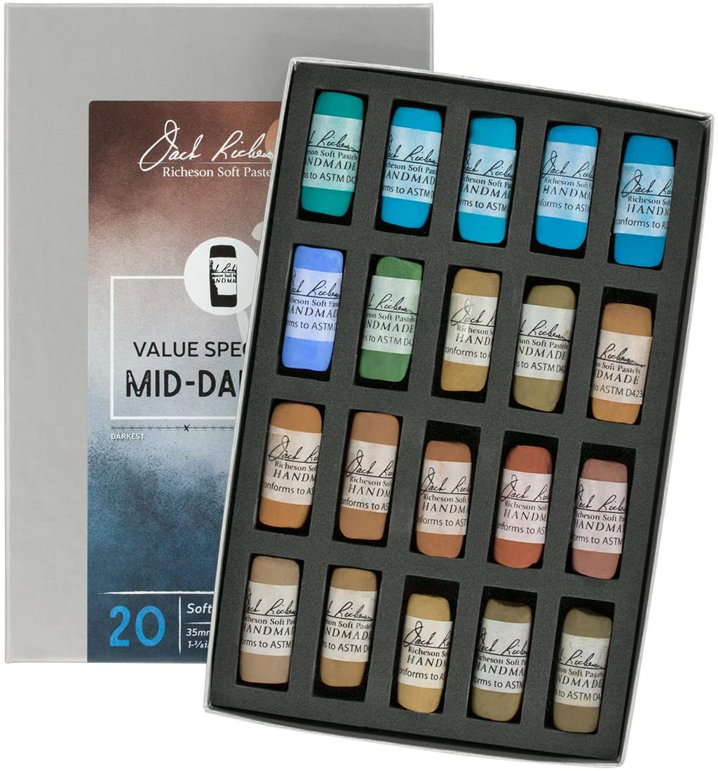 Jack Richeson Hand Rolled Soft Pastels Value Spectrum : Mid-Dark 4, 20 Piece Set