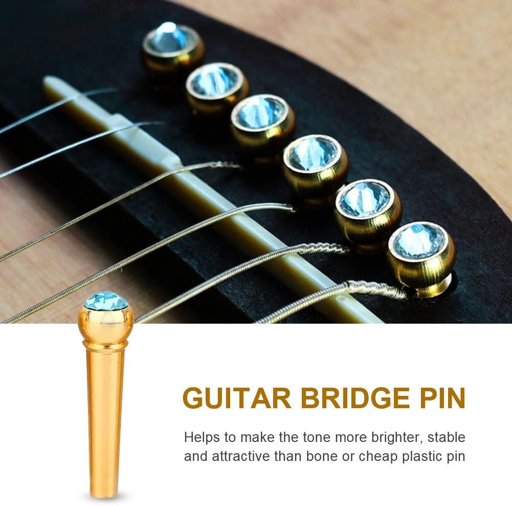 6Pcs Guitar Bridge Pins Brass Acoustic Guitar Bone Bridge Pins with Crystal Glass Dot Decor Music Instrument Parts for Folk Guitar(Sky Blue)