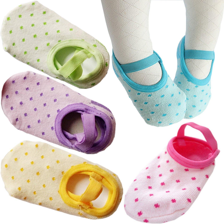 PlyingP Toddler Anti Slip Socks 5 Pairs Baby Socks Infants Baby Girl Mary Jane No-Show Crew Boat Ankle Socks Multicolor for 12-28 months baby girl