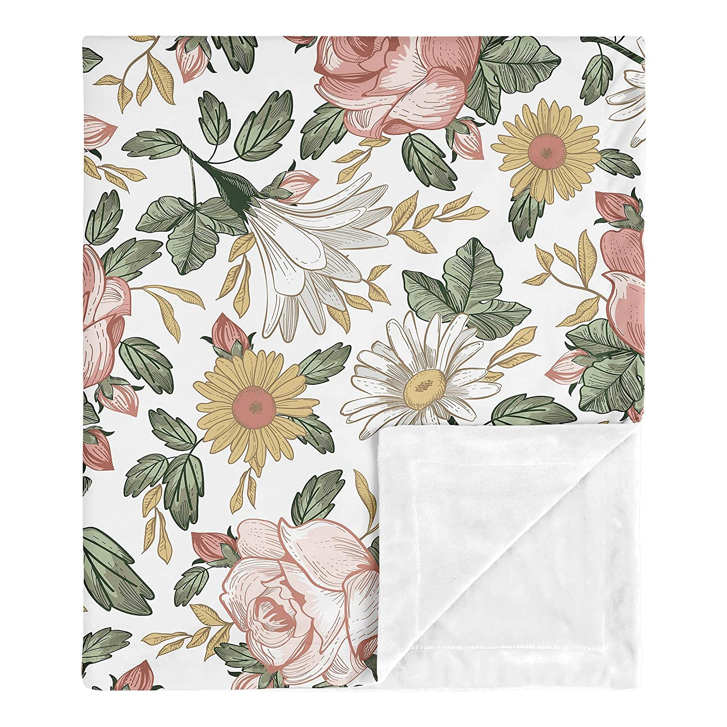 Sweet Jojo Designs Vintage Floral Baby Girl Receiving Security Swaddle Blanket for Newborn or Toddler Nursery Car Seat Stroller Soft Minky - Pink Yellow Green Boho Shabby Chic Rose Flower Farmhouse