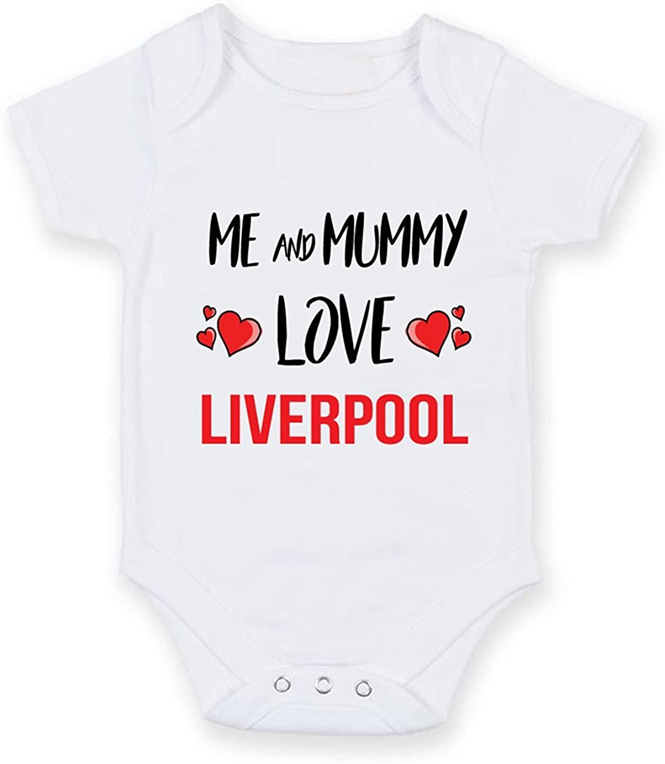 Cheyan Me and Mummy Love Liverpool - Personalised Football Team Baby Boy Girl Unisex Short Sleeve Vest Bodysuit