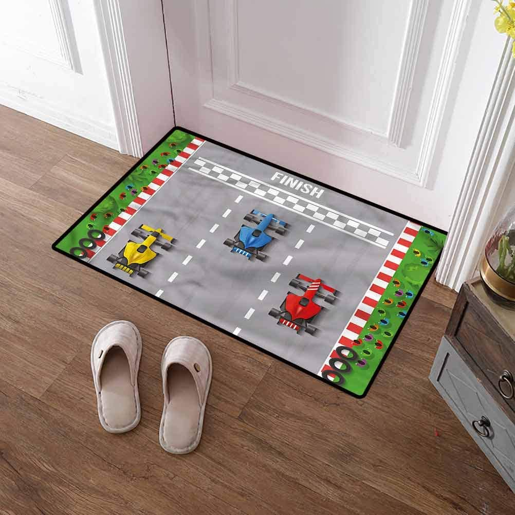 SCOCICI1588 Bath Mat Boys Room, Car Race Formula One Welcome Mat for Mud Room, Back Door, High Traffic Areas 24 x 35 Inch