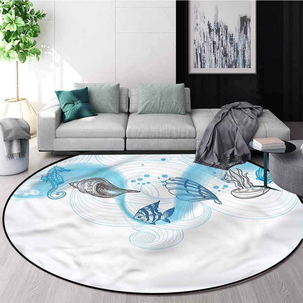 RUGSMAT Nautical Modern Washable Round Bath Mat,Seashells and Ocean Waves Door Mat Indoors Bathroom Mats Non Slip Diameter-71