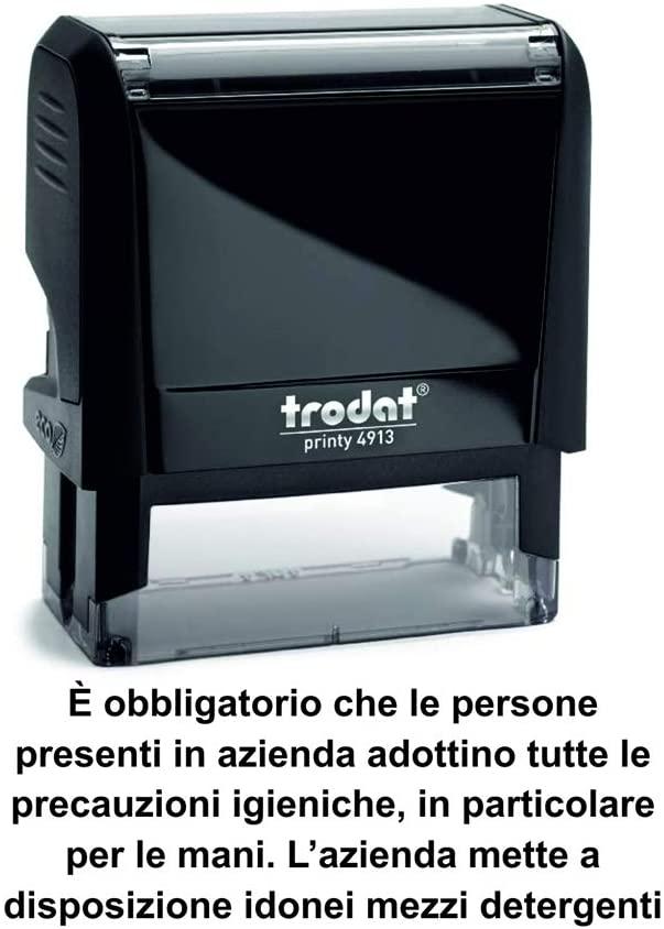 Trodat Printy 4913 Self-Inking Hygienic Precautions Stamp - Black
