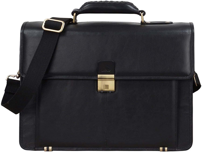 Leather Unisex Laptop Briefcase Sleek Shoulder Messenger Portfolio Satchel Bag