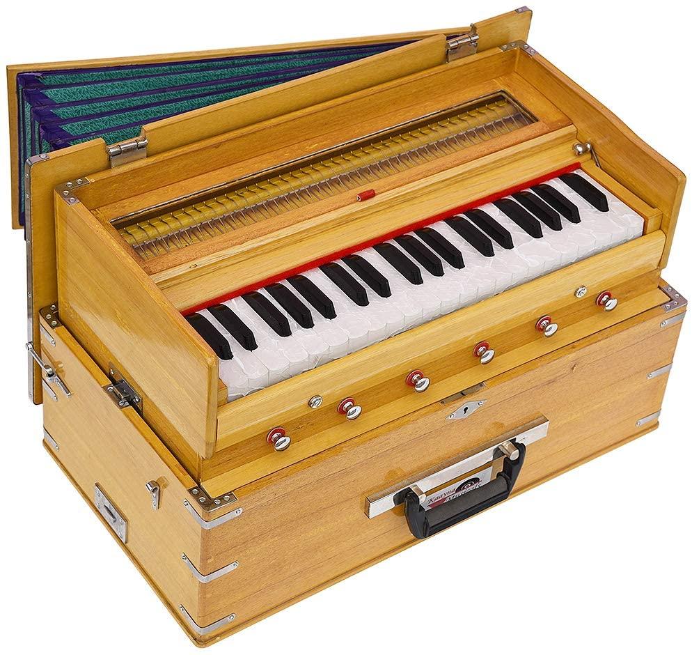 Safri Harmonium By Kaayna Musicals- Portable, Traveler, Baja- 3¼ Octave, 6 Stops (2 Drone), Two Set Reed- Bass/Male, Teak Color, Gig Bag, Tuning 440 Hz, Suitable for Yoga, Bhajan, Kirtan, Mantra, etc.