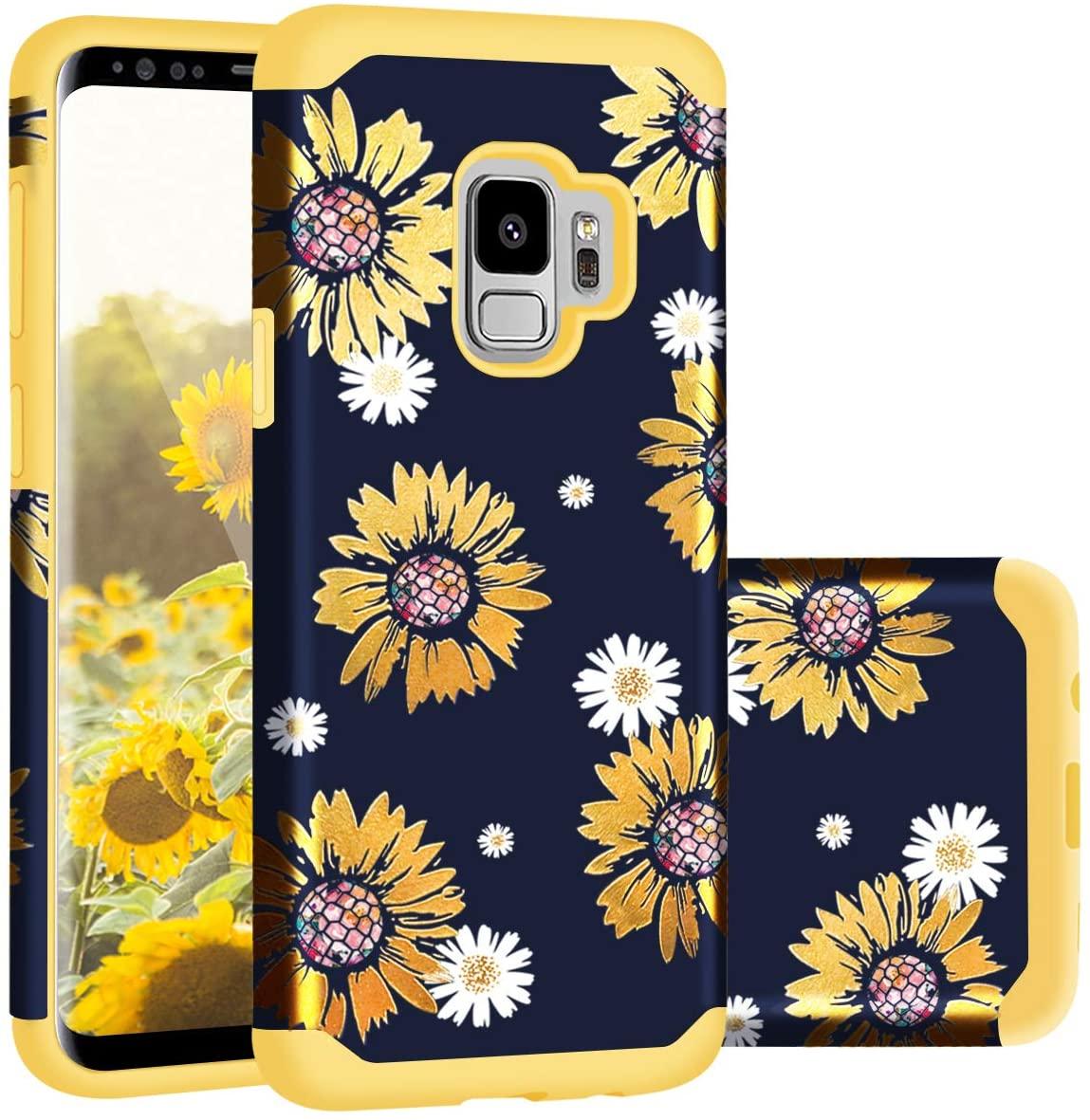 Casewind Galaxy S9 Case,Samsung S9 Case, Samsung Galaxy S9 Case Sunflower Glitter Slim Hard PC Soft Silicone Hybrid Protection Shockproof Anti Scratch Bumper Cover Galaxy S9 Case Girls,Yellow