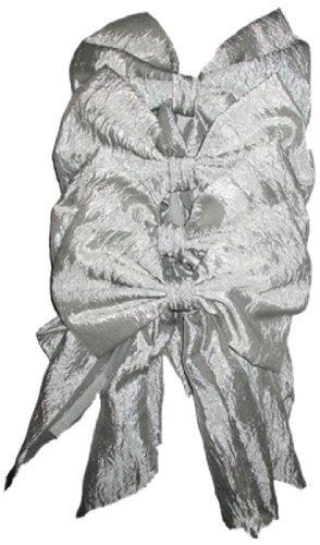 Baby Doll Bedding Crocodile Crushed Tara Round Crib Canopy Bows Set, Silver, 4 Piece