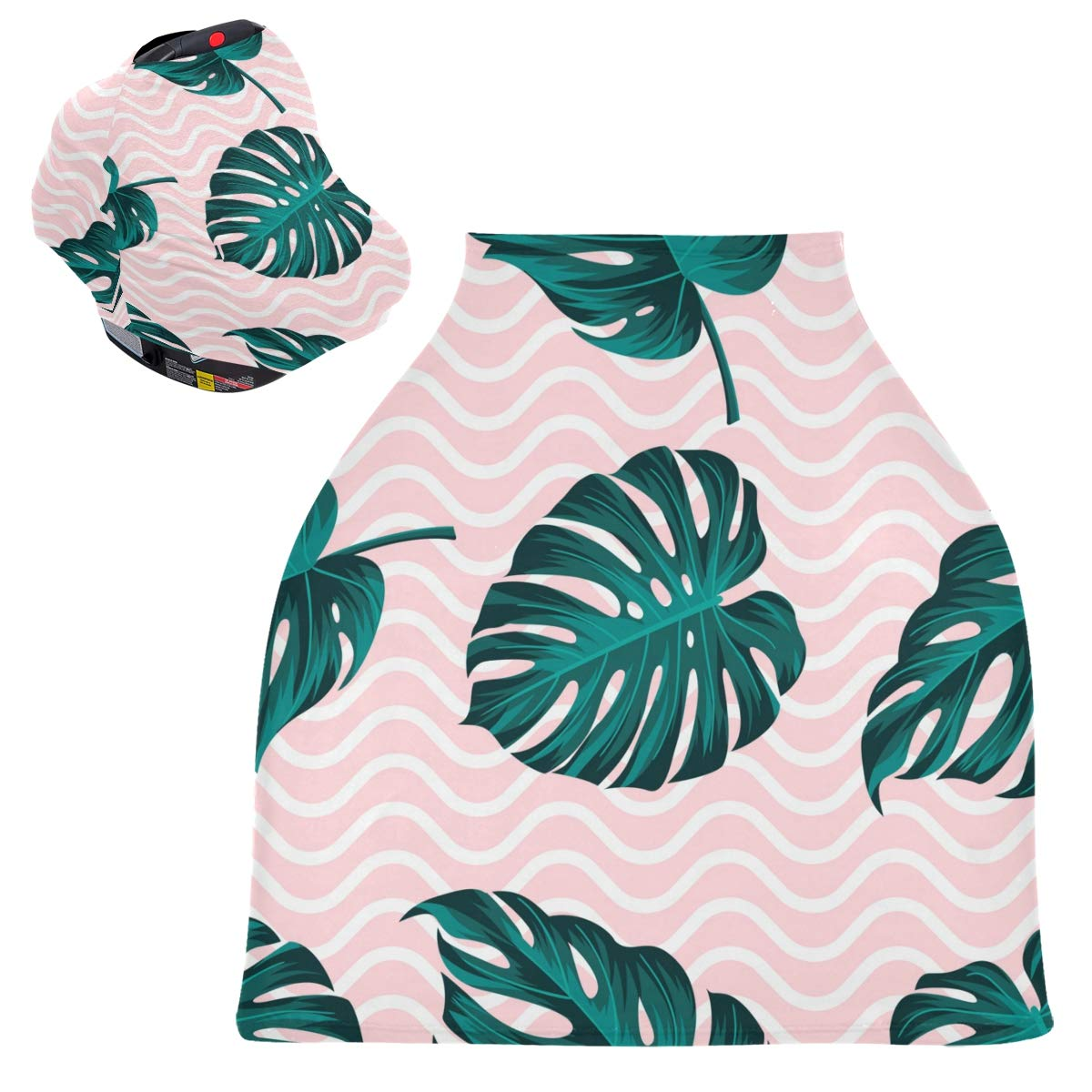 Stretchy Baby Car Seat Canopy - Tropical Summer Palm Leaves Infant Stroller Cover Multi Use Baby Carseat Cover Nursing Cover for Boy