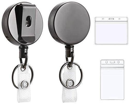 Retractable Badge Holder - 2Pcs Retractable Keychain with Card Holder