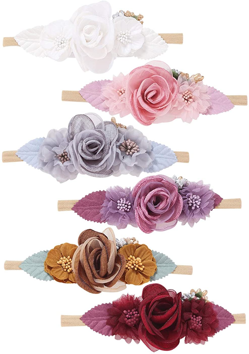 inSowni 6 Pack Delicate Flower Super Stretchy Nylon Headbands Hairbands Hair Accessories Ties for Baby Girls Toddlers Newborns Infants Kids Teens