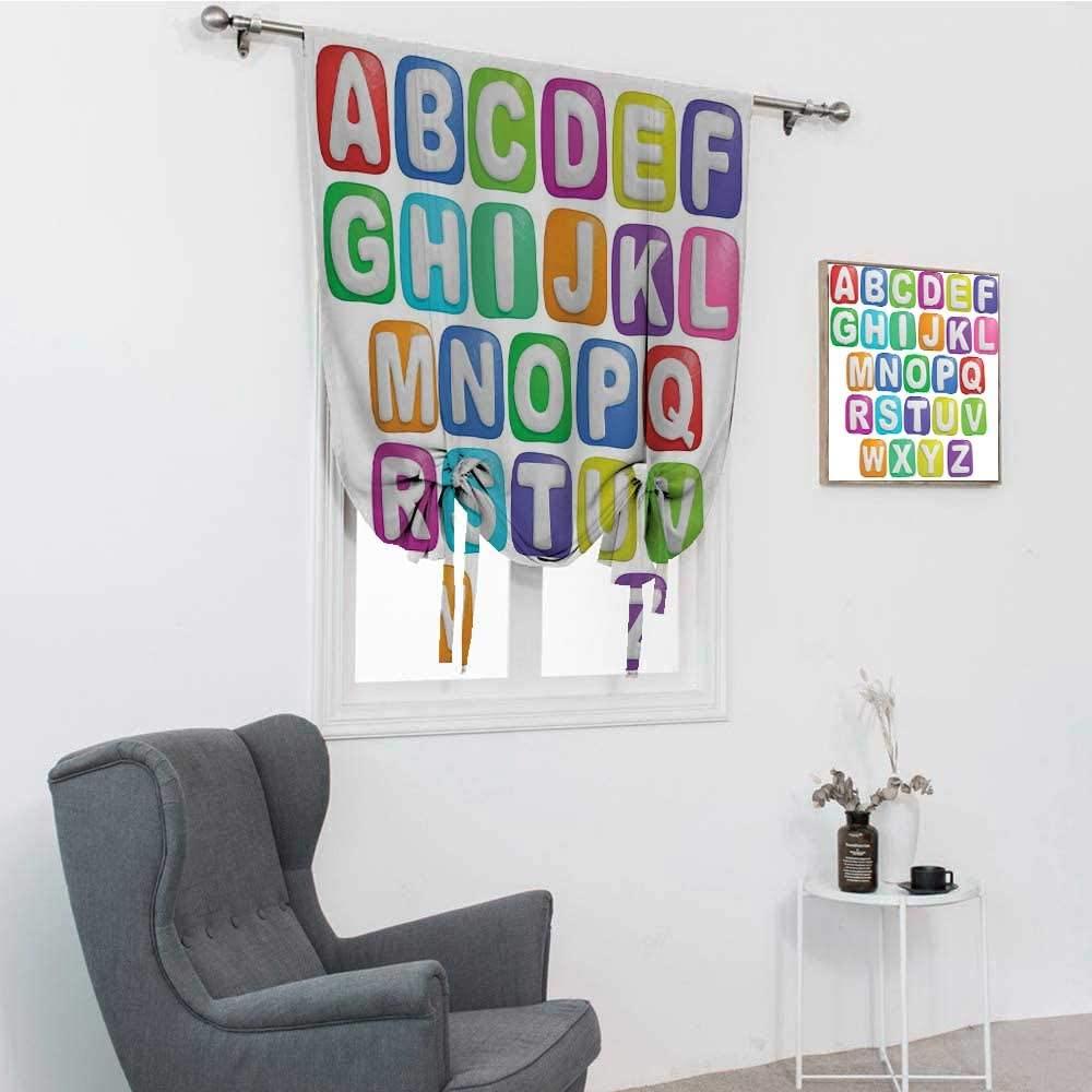 GugeABC Letter Drapes for Living Room, Cartoon Style Colorful Alphabet Squares Children Kids Nursery Kindergarten Design Balloon Valance Drape, Multicolor, 39