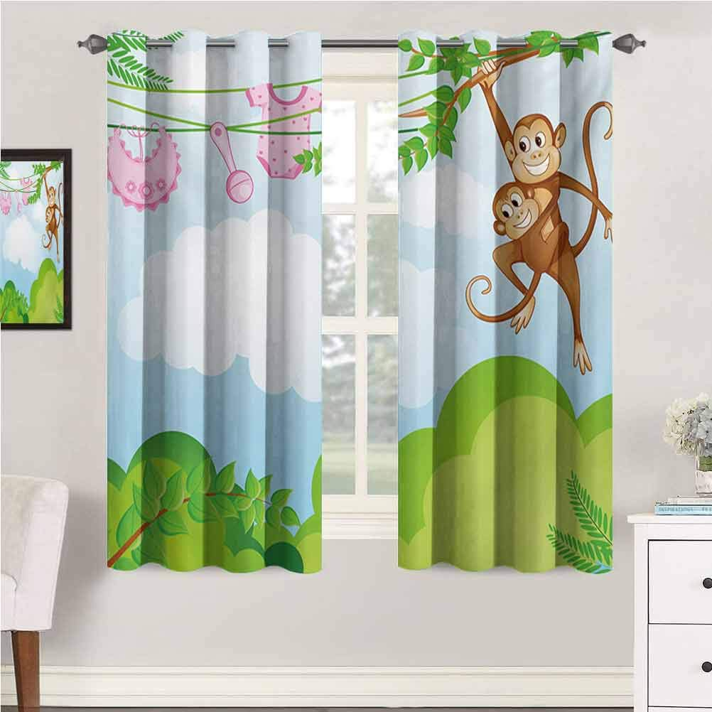 Nursery Nursery & Infant Care Curtains Monkey Swinging with The Kid Baby Clothes Chimpanzee Jungle Joy Togetherness Print Curtains for Bedroom/Living Room 96