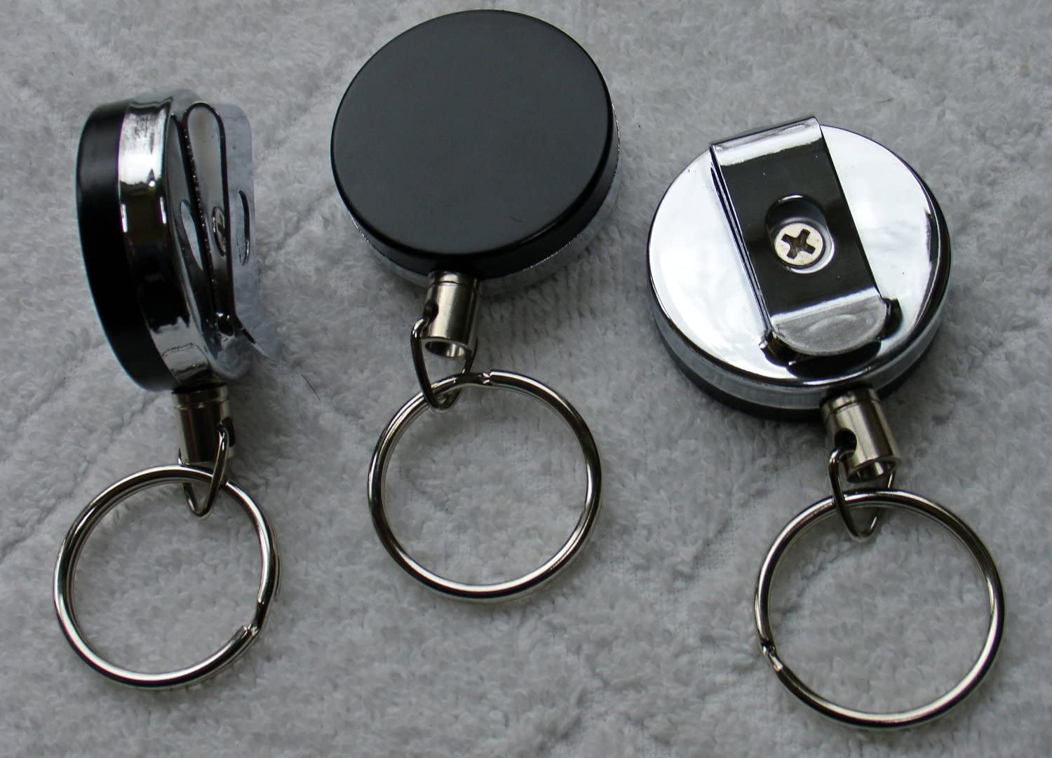4 X Heavy Duty (100% Solid Metal Back) Retractable Reel Key-ID-Badge-Belt Clip & Chain Pull Sold Individually,1.5inch