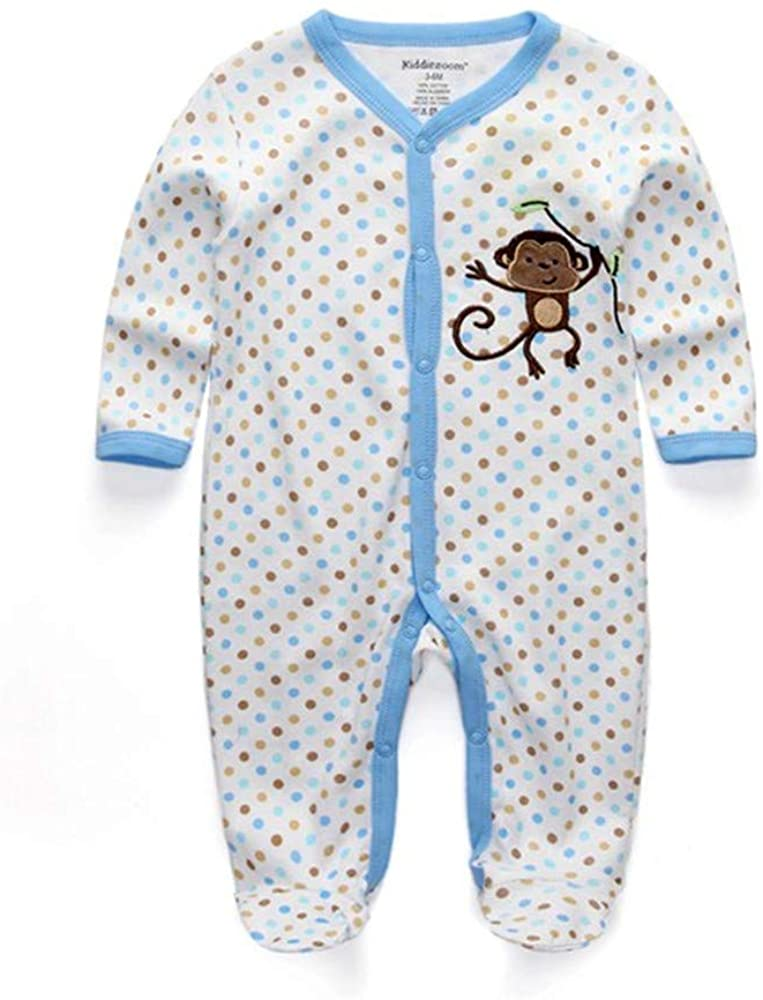 Baby and Toddler Girls' 3-Pack Fit Cotton Jumpsuit Footed Pajamas Kids Outfits
