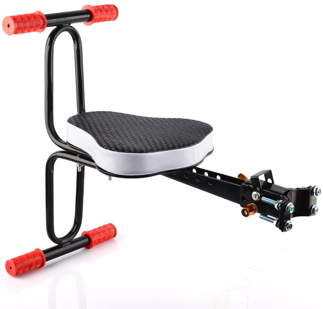 Yamix Bike Child Seat, Fashionable Detachable Bicycle Child Seat Bicycle Baby Seat Child Bike Seat Kids Baby Safety Carrier Front Seat with Armrest and Pedal