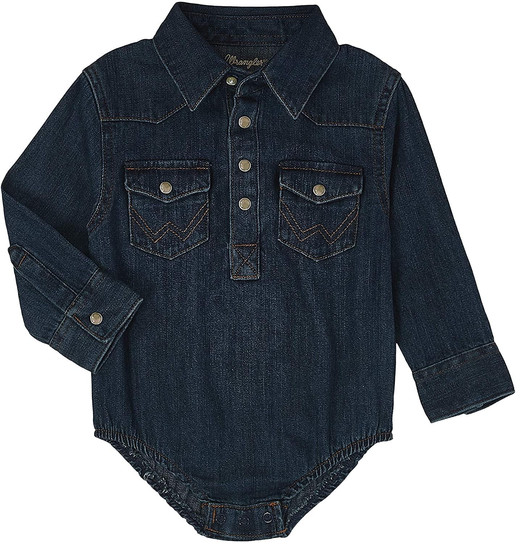 Wrangler Authentics Baby Long Sleeve Denim Body Suit, 3-6 Months