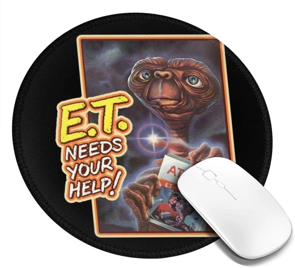 Et Needs Your Help Game Cover Customized Designs Non-Slip Rubber Base Gaming Mouse Pads for Mac,7.9x7.9 in, Pc, Computers. Ideal for Working Or Game