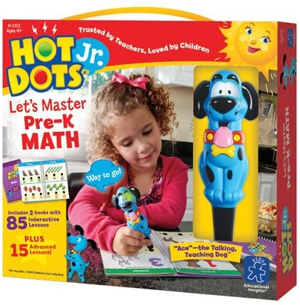 Educational Insights Hot Dots Jr. Let's Master Pre-K Math Set, Homeschool & School Readiness, 2 Books & Interactive Pen, 100 Math Lessons, Ages 4+