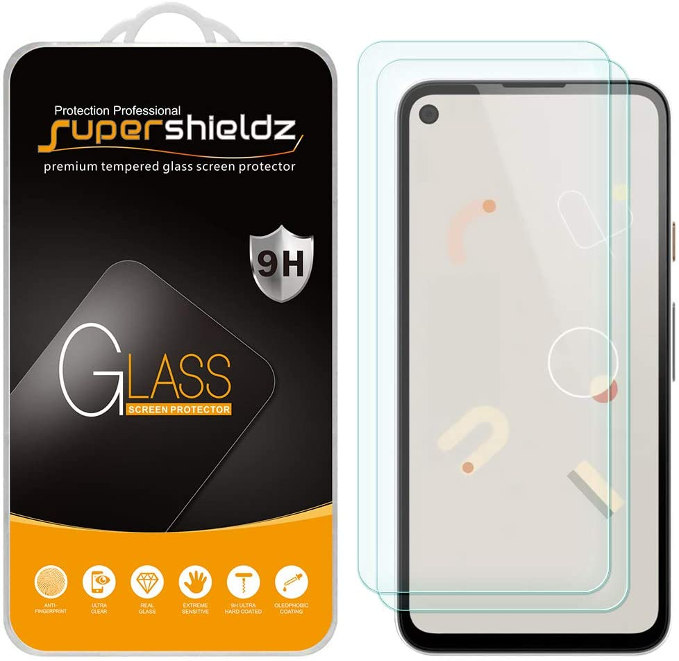 (2 Pack) Supershieldz for Google Pixel 4a Tempered Glass Screen Protector, 0.33mm, Anti Scratch, Bubble Free